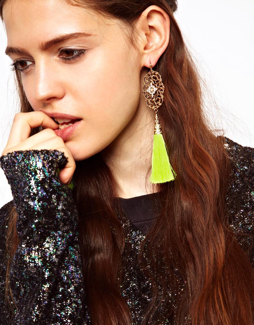 European-style-Fashion-accessory-neon-color-yarn-tassel-drop-earring-female-pendants-earrings-free-shipping-dangle