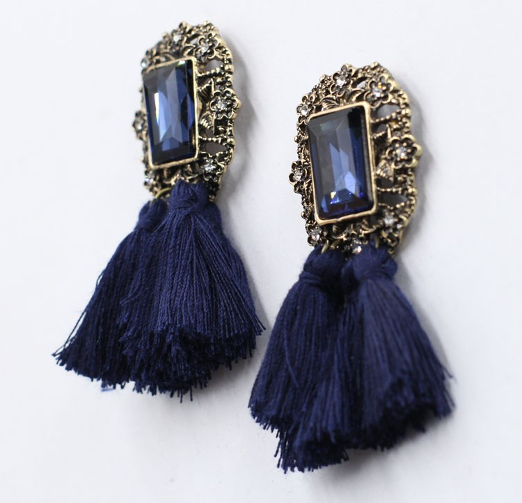 Stock-statement-earring-2015-blue-color-tassel
